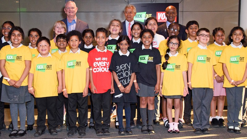 The Everycolour Choir photographed with FA Chairman Greg Clarke and Kick It Out Chairman Lord Ouseley
