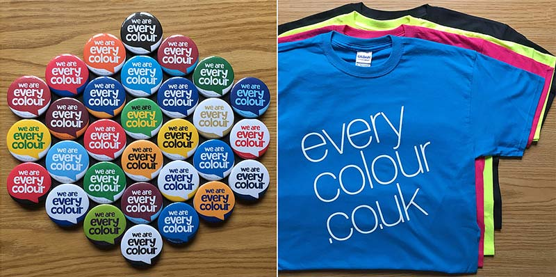 Left hand photo shows collection of Everycolour badges in League club colours. Righthand image shows four Everycolour T-shirts in cyan, magenta, yellow and black